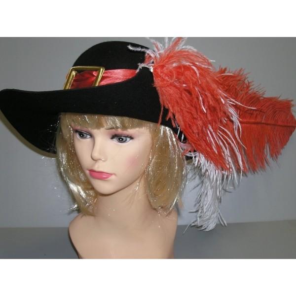 Mušketýrský klobouk s červenou stuhou 4 120123č - Ru 88211e3d49