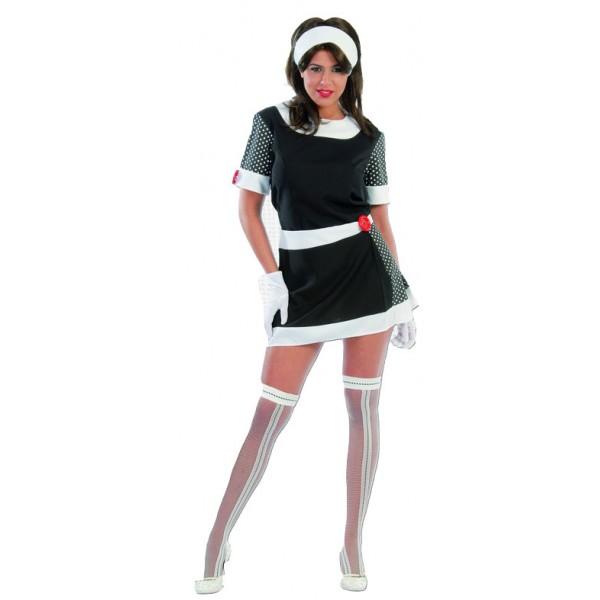 60-tá léta - černobílé šaty - puntík 1F 80357 - Gu